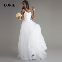 Robe De Mariage Beach Wedding Dresses Spaghetti Straps Puffy Chiffon Floor Length Lace Appliqued Sexy Bridal