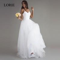 Robe De Mariage Beach Wedding Dresses Spaghetti Straps Puffy Chiffon Floor Length Lace Appliqued Sexy Bridal