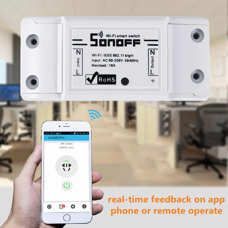 1 Pcs Sonoff Dasar Wifi Switch DIY Wireless Remote Domotica Light Smart Home Automation Modul Kontrol Bekerja dengan Alexa