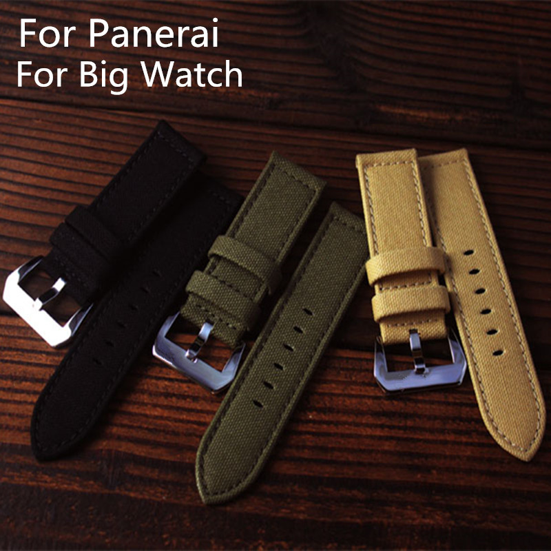 New Arrive High-quality 24MM Black Green Khaki Canvas Watchband Watch Strap Bracelet For PAM And Big Watch lukeni 24mm camo gray green blue yellow silicone rubber strap for panerai pam pam111 watchband bracelet can with or without logo