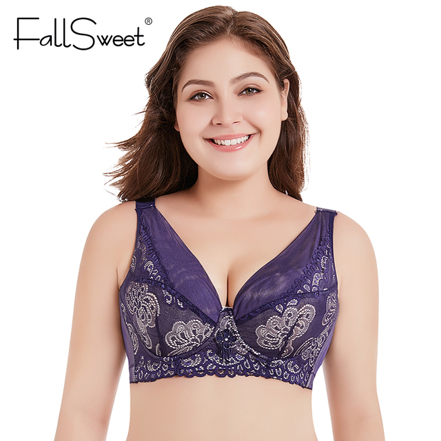 ea6f2672a1f8a FallSweet Deep V Women Plus Size Bra Push Up Lace Vest Brassiere D E Cup 36  to 50