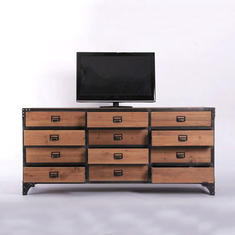 Exceptional Vintage American Country Living Room TV Cabinet Wood Drawer Multi Drawer TV  Table Large Favorably
