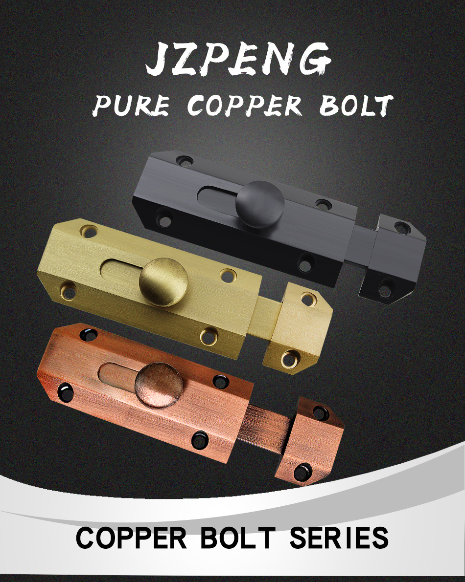 JZPENG Pure Copper Thickened Wall Mounted Latch Door Copper Latch Villa Door Bolt Plug Lock Plug Door Latch Small Latch