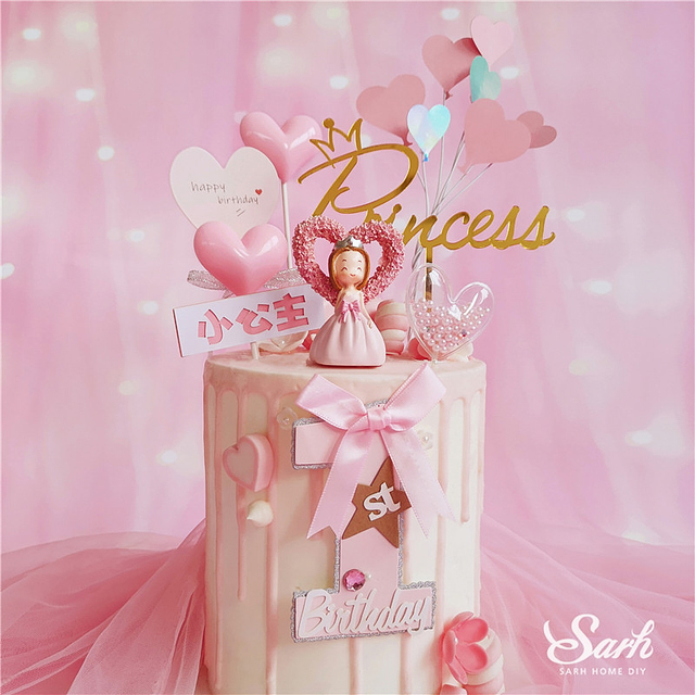 Rosa corazón princesa de corona de plata Topper para tarta de feliz cumpleaños para los niños de la fiesta del día de suministros de la boda regalo