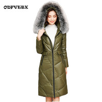 Plus size leather white duck down jacket female sheep skin fox fur collar medium long 2019 autumn winter new leather coat women