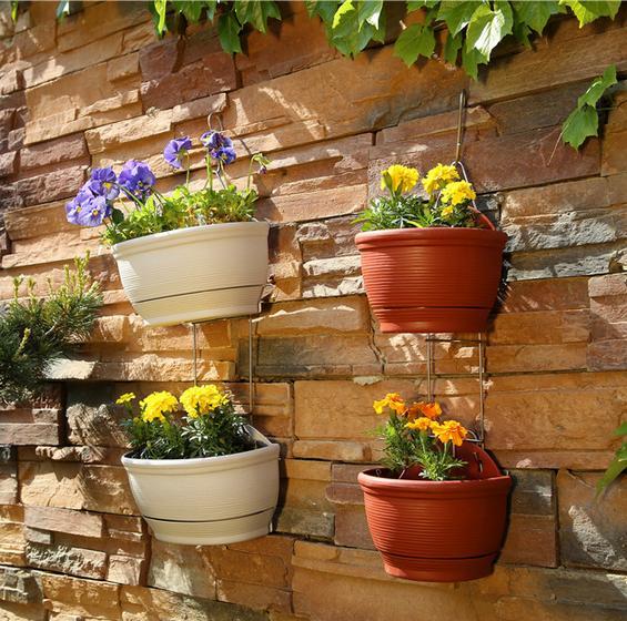 Pocketgarden 1set Hanging Basket Planter Flower Pots Plastic Wall
