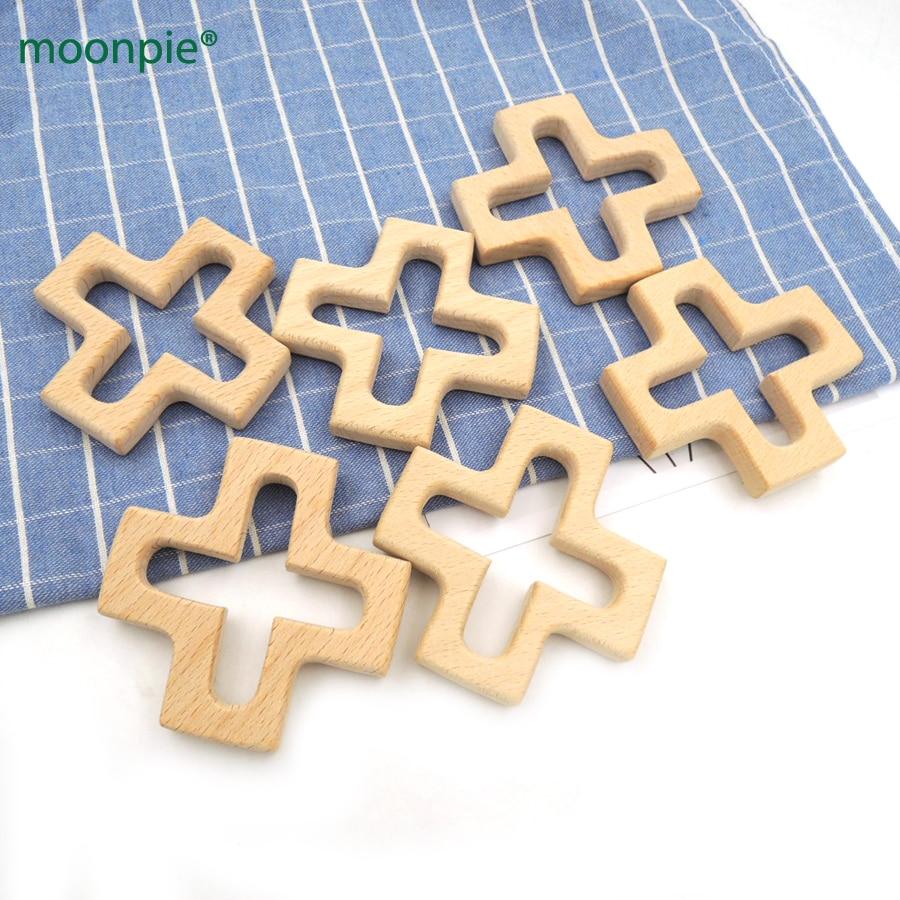 10шт 74мм ручної роботи Порожнистий різьблення хрестової форми бук дерев'яні протектора плюс дитина прорізування зубів дерев'яна іграшка подарунок іграшки для годування EA332