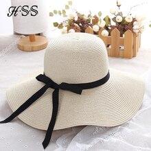 Señoras del verano arco grande de paja sombrero viajes mujeres moda  anti-ultravioleta del sombrero e29df848ad5