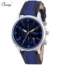 Chaxigo Relógio Masculino de Pulso de Quartzo Reloj De Hombre Horloge Mannen 2016 de Couro À Prova D' Água Relógio Analógico dos homens Relogio presente