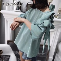 TWOTWINSTYLE Striped Shirt Female Off Shoulder Bow Hollow Out Three Quarter Sleeve Blouse Top 2018 Summer Fashion Korean Clothes