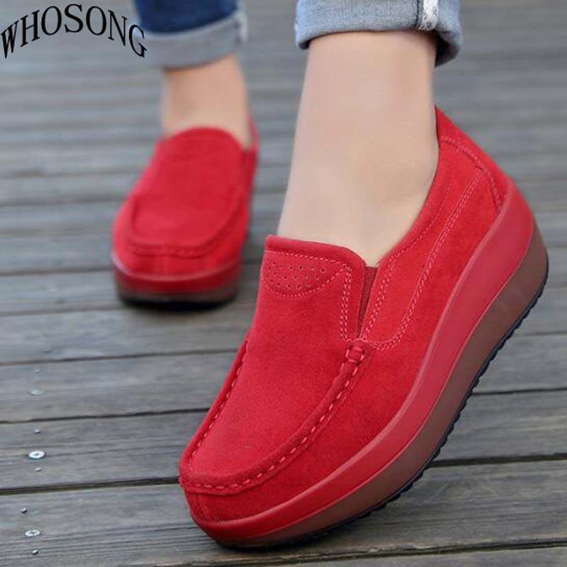 WHOSONG women flats shoes platform sneakers shoes   leather     suede   casual shoes slip on flats heels creepers moccasins M03