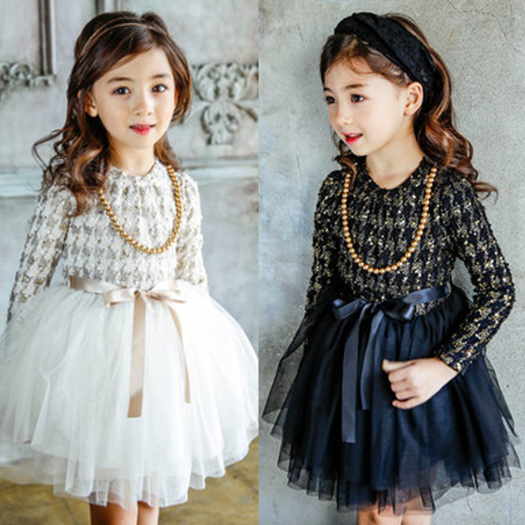 2017 Kids Dress spring Girls long sleeved lace Princess ball gown dress fashion princess party Dresses  children clothing children s girls autumn long sleeved korean lace princess dress kids clothing mesh lace white