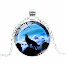 XUSHUI XJ Howling Wolf Moon Pendant Necklace Women Jewelry Fashion Silver Color Chain Glass Cabochon Necklace 12 Style