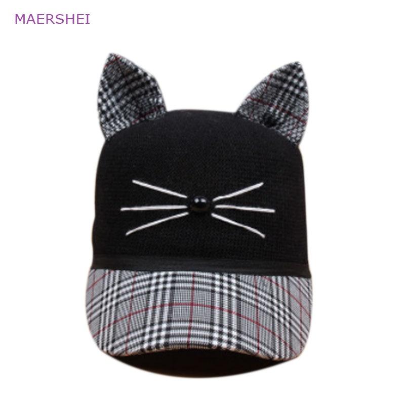 MAERSHEI Childrens Hat Cat Ear Lattice Baseball Cap Ms. Korean Parenting Cute Outdoor Visor Sunscreen Cap