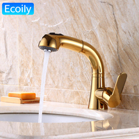 Luxury Pull Out Brass Golden Faucet For Bathroom Dual Sprayer Nozzle For A Crane Torneira Do