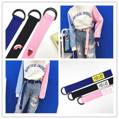 Womens Fashion Designer Canvas   Belts   2018 Korean Ulzzang Harajuku Cute Letter Printing Buckle Ring   Belt   Women High Quality