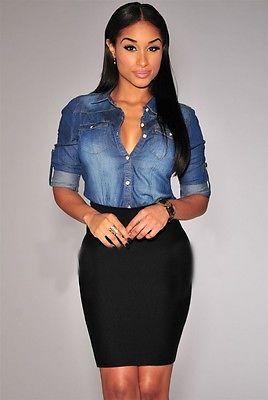 a53df3715 € 8.41 12% de DESCUENTO|Nueva blusa de mezclilla larga de Chambray de  algodón puro elegante a la moda para mujer en Blusas y camisas de La ropa  de ...