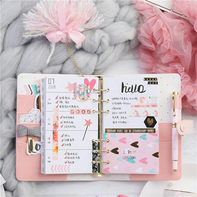 Lovedoki Pink Marble Binder Notebook And Journal A6 Spiral Planner  Organizer 2019 Agenda Diary Girls Stationery School Supplies