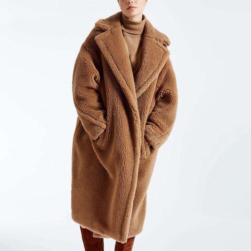 Réel Manteau De Fourrure Femmes Hiver Super Chaud 100% Laine Outwear Surdimensionné Ours en peluche Icône Manteau rf0166