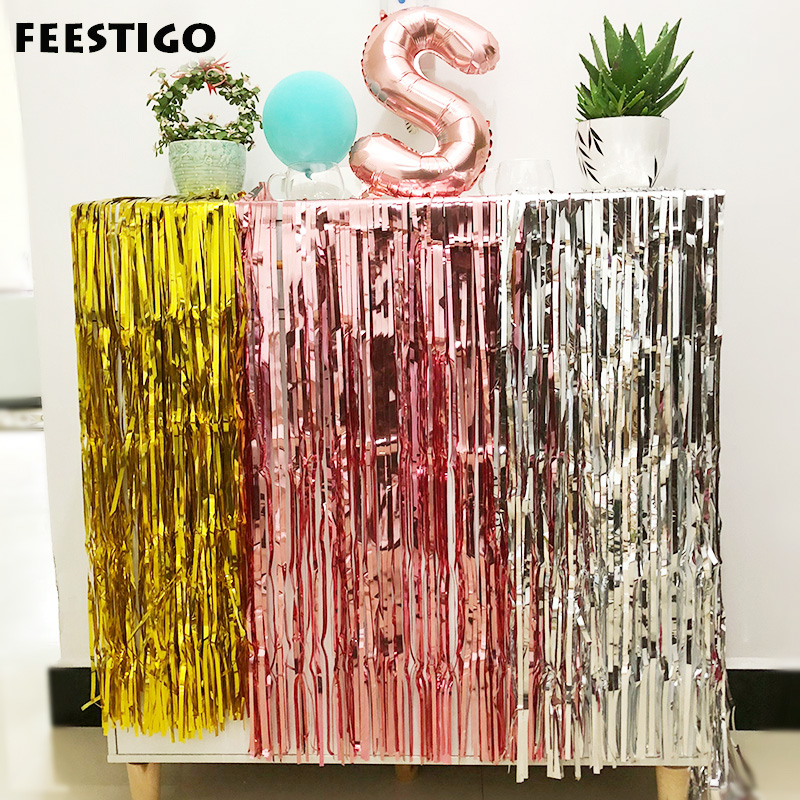 1/2/3M Rose Gold Foil Curtain Wedding Backdrop Tinsel Curtain Photo Booth Backdrop Fringe Foil Curtain Birthday Party Decoration