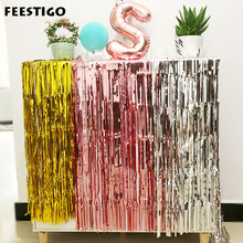 1/2/3M Rose Gold Foil Curtain Wedding Backdrop Tinsel Photo Booth Fringe Birthday Party Decoration