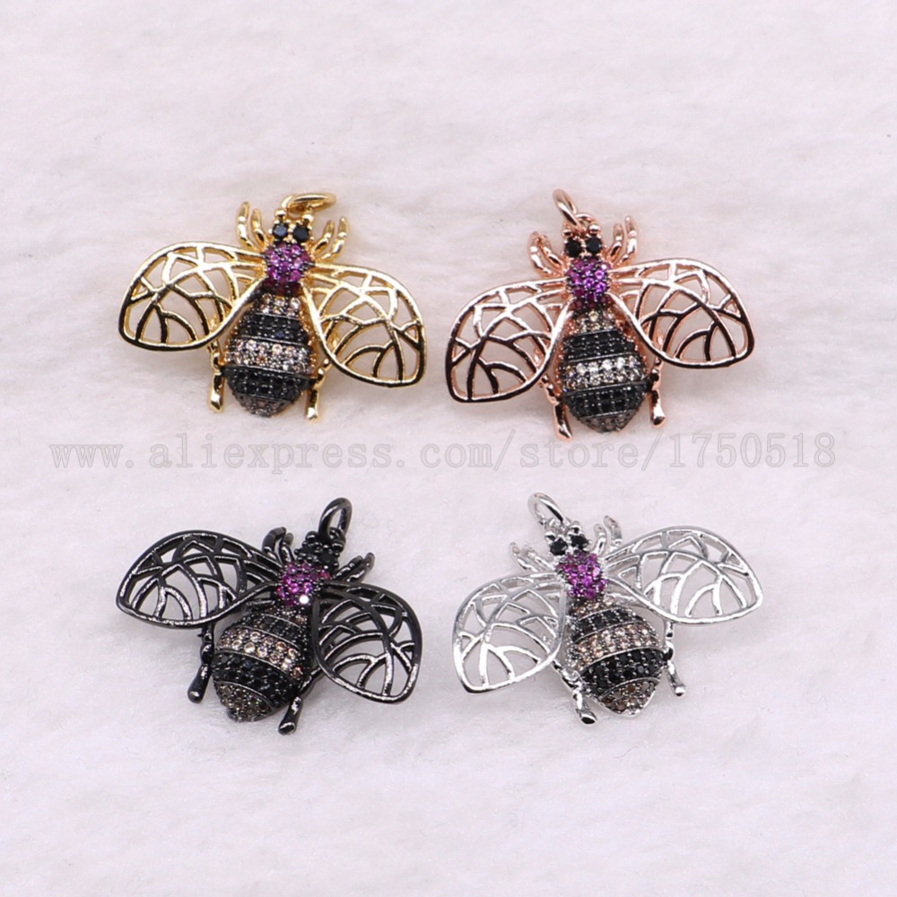 5 pieces small bugs pendants charm fly insects hexapod bee fly jewelry pendants micro paved mix color pendants pets beads 3060