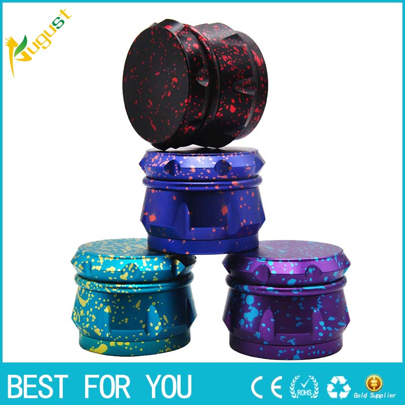 12pcs lot 2018 New Type Dazzle Color Metal Herb Grinder 4 Layers Dia 63mm Aircraft Aluminum