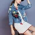 Женщины Джинсовый Жакет Плюс Размер Осень Вышивка С Длинным Рукавом Джинсы Куртка Женщин Одежда Chaquetas Mujer LBAC5352-0914