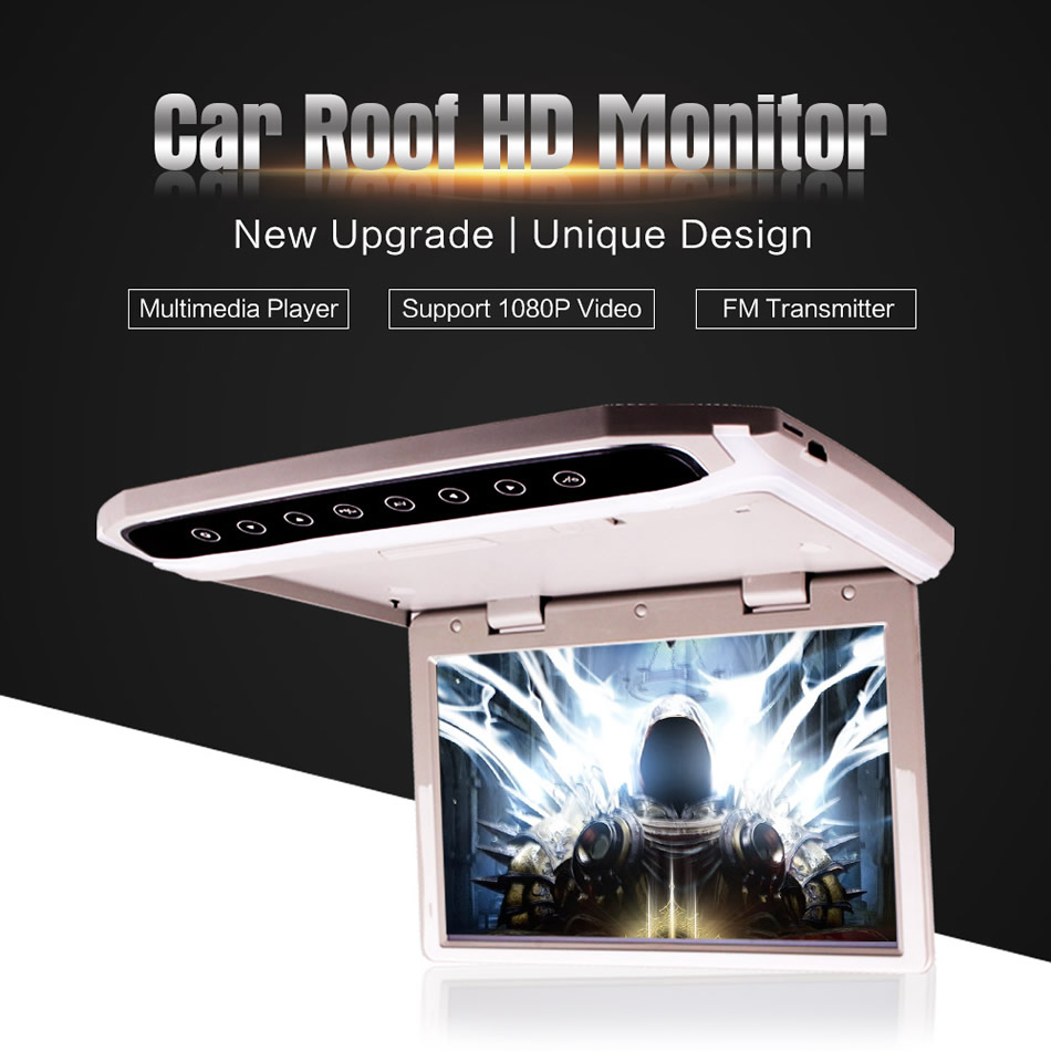 10 12 15 Inch Car Roof Mounted Overhead Flip Down MP4 MP5 Video Player HD LED Monitor With HDMI SD AV InPut 16GB Card And Reader