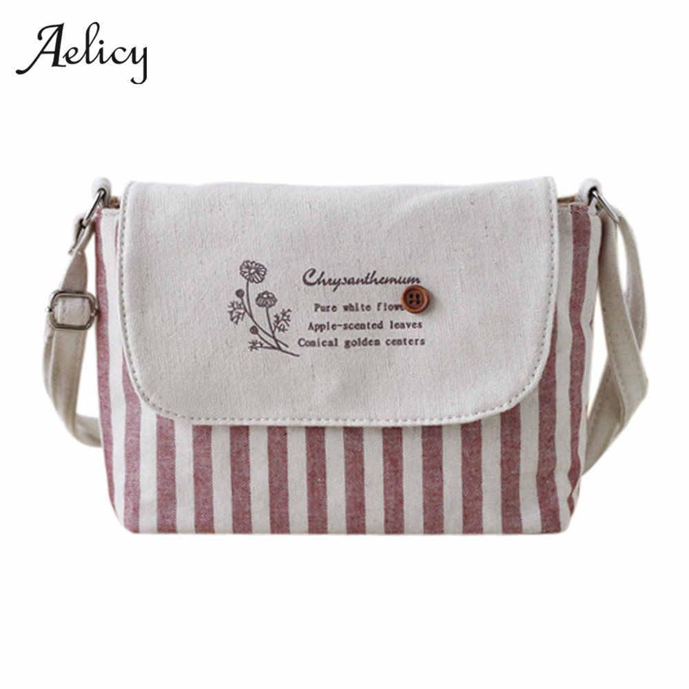 Aelicy 2019 Brands Fashion Women Cotton Fabric Bag Women Fresh Striped  Girls Shoulder Bag mini crossbody e6d843e042ebc