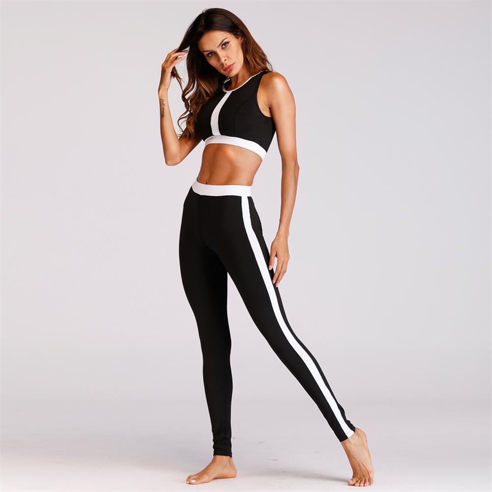 f58ab89ce5 Yoga Sport Suit Women Gym Clothes Fitness Running Tracksuit Black White  Patchwork Sports Bra+Sport Leggings 2 Piece Set