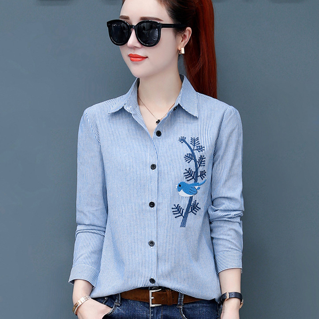 74ea08be65f4 2019 Spring Summer fashion female long sleeve loose cotton linen striped blouses  women shirts office lady