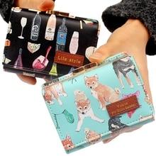 Cute cartoon print dogs womens wallets purses Lady clutch Sh