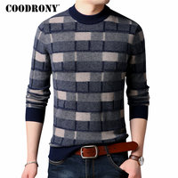 COODRONY Merino Wool Sweater Men Fashion Plaid O Neck Pullover Men 2018 Winter New Arrival Thick Warm Soft Cashmere Sweaters 310