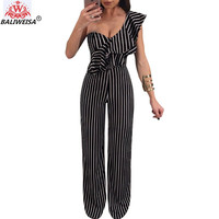 BALIWEISA Casual Wide Legt Pants Jumpsuits Women Elegant One Shoulders Ruffles Striped Rompers Sexy Backless OL