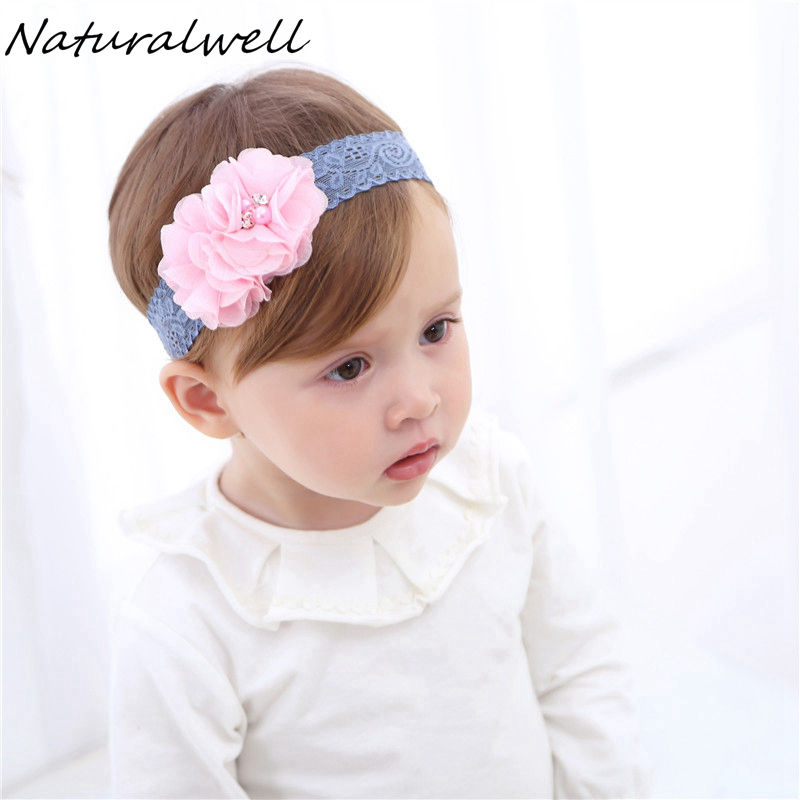 Naturalwell Fashion kids girls flowers Headband Children bandage Newborn Lace Hair Band Head Piece Accessories Hair bows HB079 naturalwell flower headband bandage lace hairband girls hairpiece child hair accessory baby hairband newborn shower gift hb090