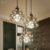Chandelier Crystal Lamp Iron Lustres Black Modern Ceiling Cord Lamps Chandeliers For Room Dining LED Light