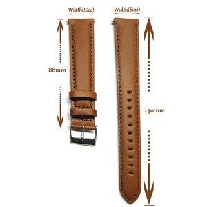 Image 2 - Correa de reloj de cuero genuino italiano, banda de reloj de 18mm, 20mm, 22mm y 24mm, correa de reloj negra y marrón claro, Correa Extra larga para muñeca grande