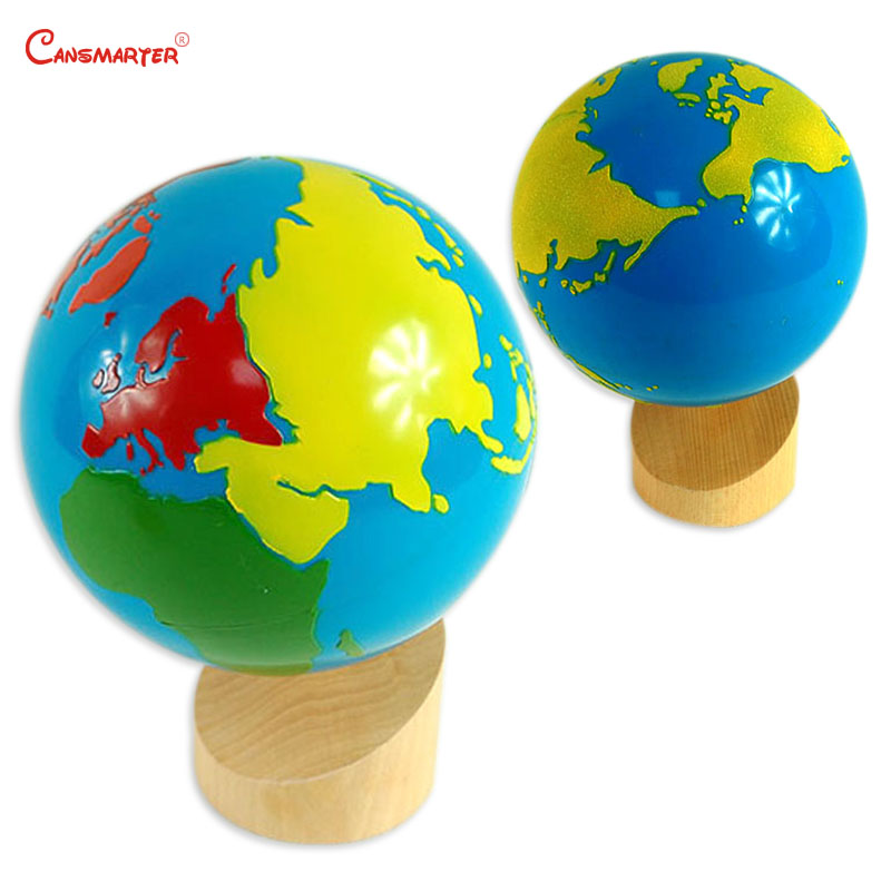 Colorful Globe Montessori Geography Practice Children Preschool Teaching Aids Wooden Educational Toys for Kids Learning GE084-5