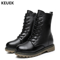 Children boots Genuine Leather Girl Boy Black Motorcycle boots Mid Calf Military boots Kids shoes 060