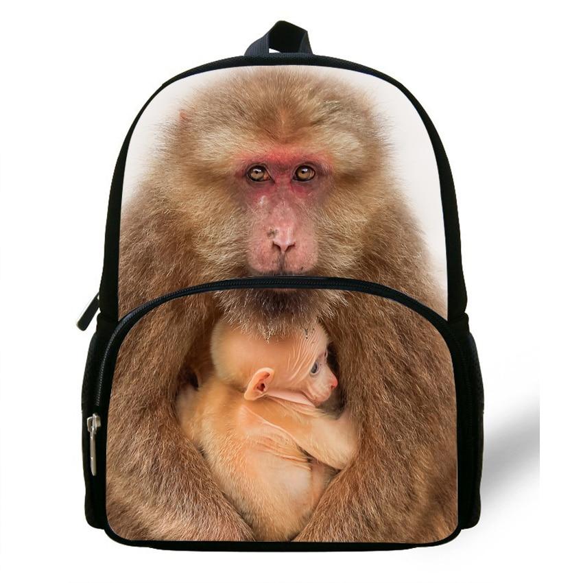 12 Inch Popular Animal Print Backpack Bag For Kids Monkey