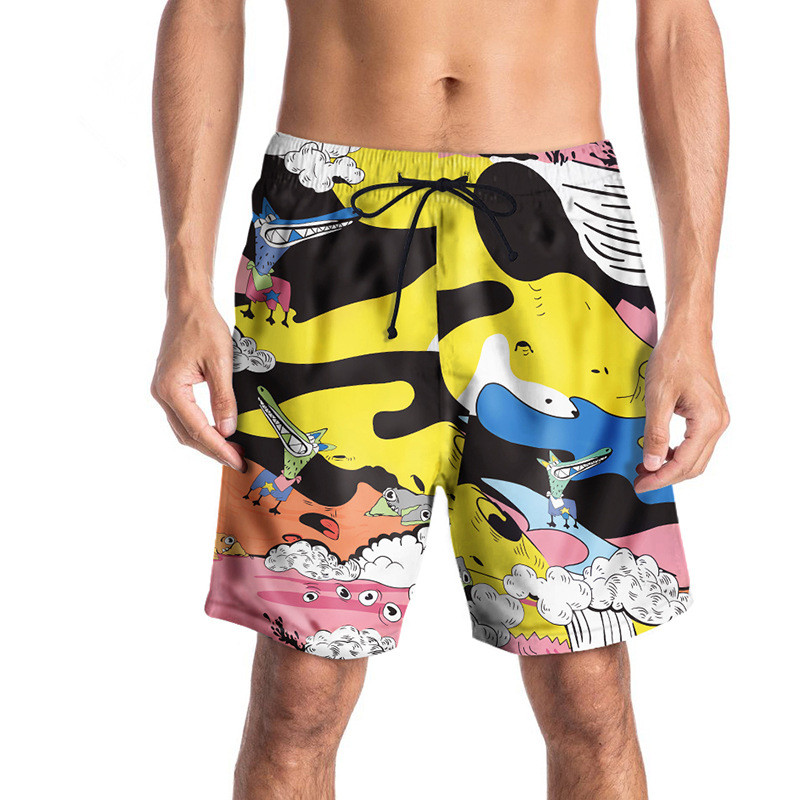 USA SIZE 2018 Summer Casual Men's   Board     Shorts   3D Cartoon Printed Beach   Short   Bermuda Swimwear Casual Digital printing Pants