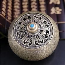 Treasures Roundness Archaize Zinc Alloy Incense Burner Buddhism Incense Burner Incensory Home Decoration Deodorize 9.7×7.2cm