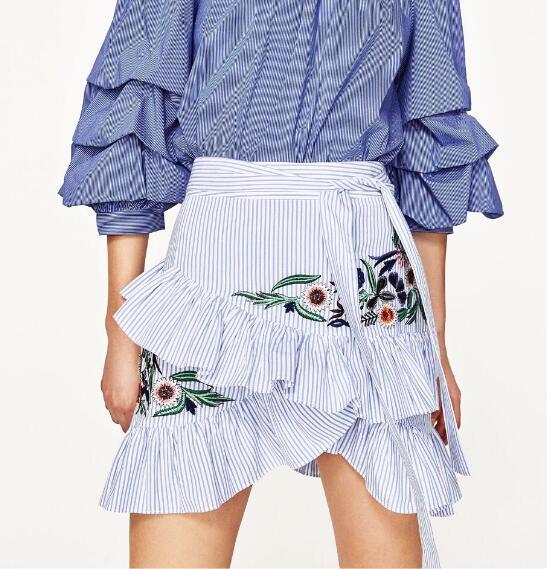 WISHBOP NEW Woman 2017SS NEW BLUE STRIPED Floral EMBROIDERED SKIRT Ruffles  Detail Waist bow Belt Mini skirts e8e73656faec