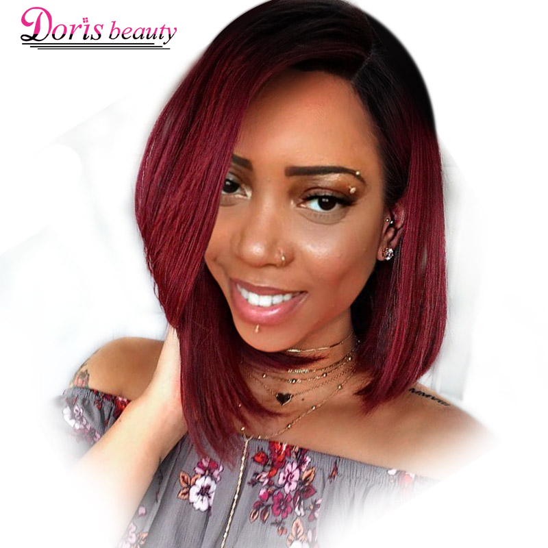 Doris beauty Ombre Red Bob Wigs for Women Synthetic Short Blonde Black Brown Straight Wig Burgundy Hair Heat Resistant Fiber(China)