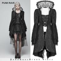 Панк рейв викторианская готика черный длинный расклешенный рукав жаккардовые пальто водолазка стимпанк дворец Женская куртка Косплей вед