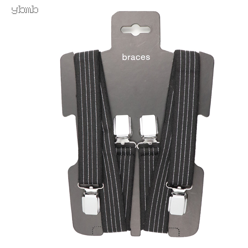 YBMB Fashion Shirt BraHigh Quality 25mm4Clips Mens Dot Suspenders X Shape Adjustable Durable Braces Elastic Belts Straps Braces in Men 39 s Suspenders from Apparel Accessories