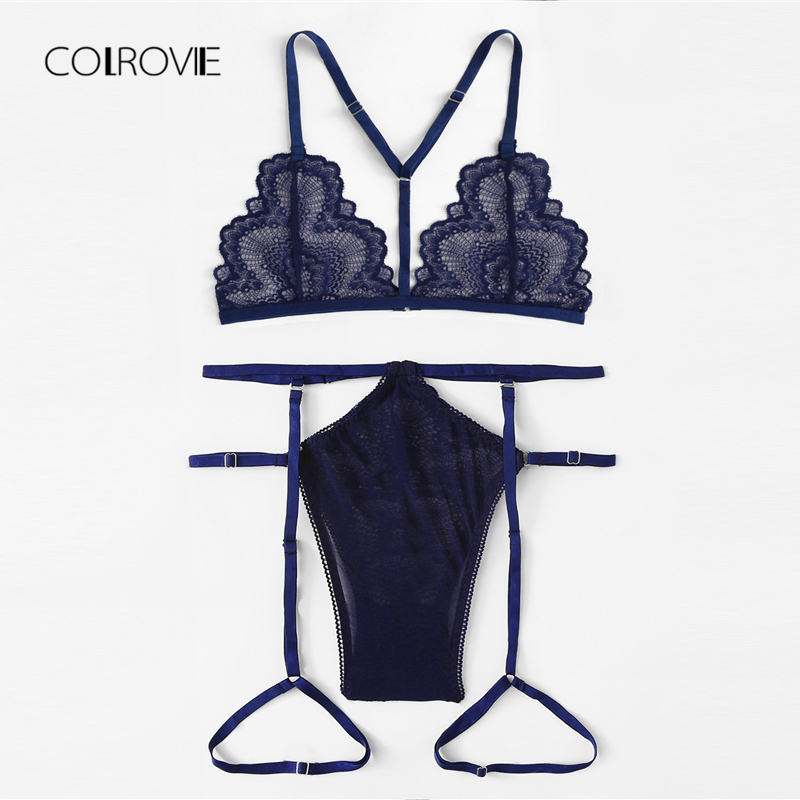 COLROVIE Navy Lace And Mesh Garter Lingerie   Set   New Summer Sexy   Bra     Set   Lace Intimates Transparent   Bra   And Panties   Set