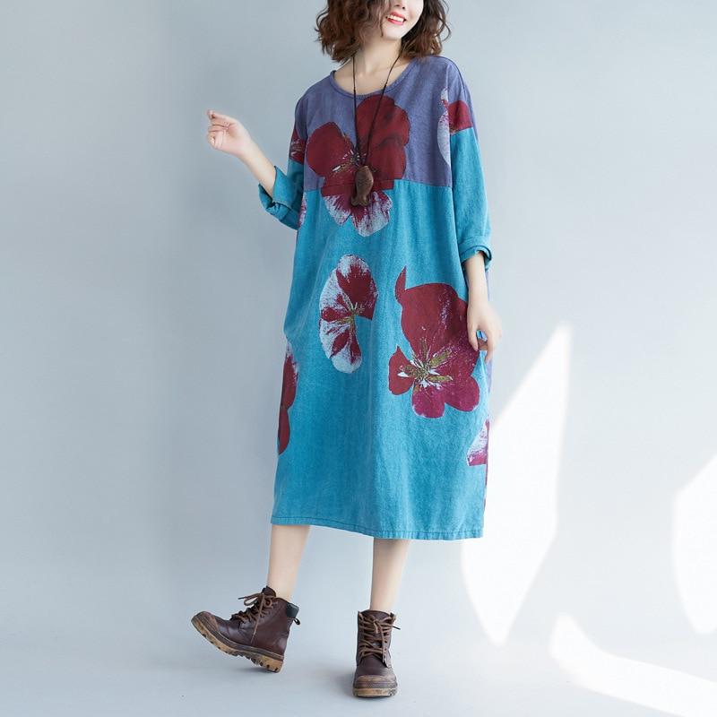 Oversized pullover dress Women Autumn Baggy Vintage Cute Printed Round Neck Dress Plus Size Patchwork Cotton