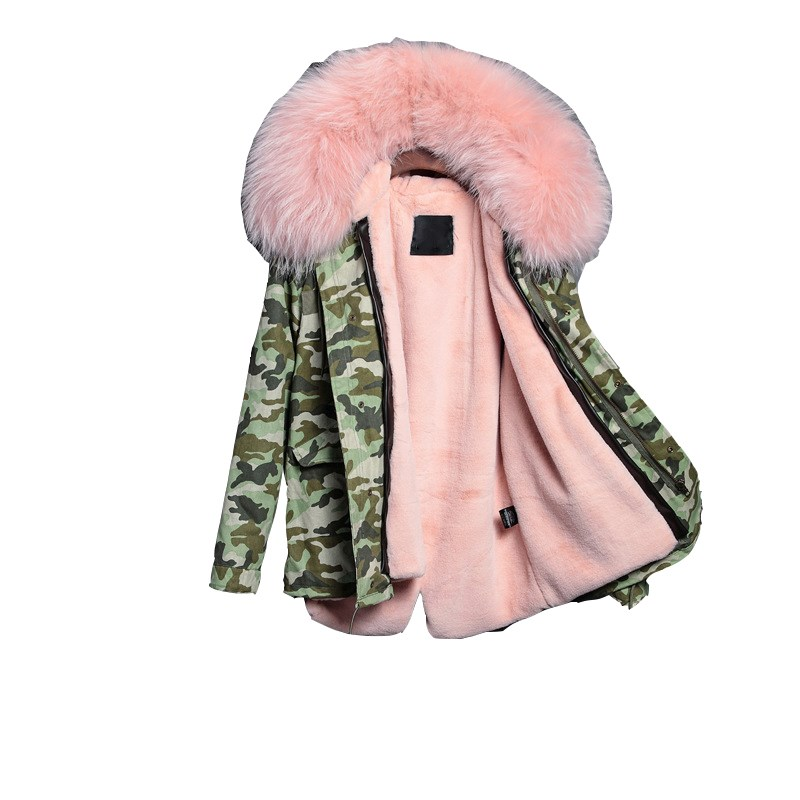 2017 New Fashion Women Luxurious Large Raccoon Fur Collar Hooded Coat Warm Fox Fur Liner Long Winter Parkas Jacket Top Quality 2017 winter new clothes to overcome the coat of women in the long reed rabbit hair fur fur coat fox raccoon fur collar